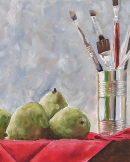 Pears and Brushes, oil
